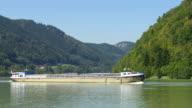 Cargo Ship On The Danube River Passing The Schloegener Schlinge