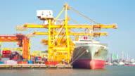 Cargo Schiff Versand der Waren container Hafen, Zeitraffer-zoom Schwenken