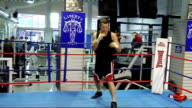 Nottingham SPOOLING** Carl Froch training in ring in gym Froch shadow boxing