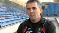 Burnley prepare for semifinal ENGLAND Lancashire Burnley Turf Moor EXT Burnley players training on pitch Owen Coyle on pitch Coyle interview SOT...