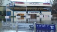 Carlisle Rugby Club submerged by flood waters off Warwick Road in Carlisle Cumbria on Tuesday 8th December 2015 after torrential rain from storm...