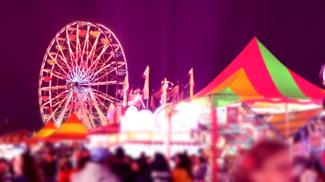 Carnival Rides and Games at Night