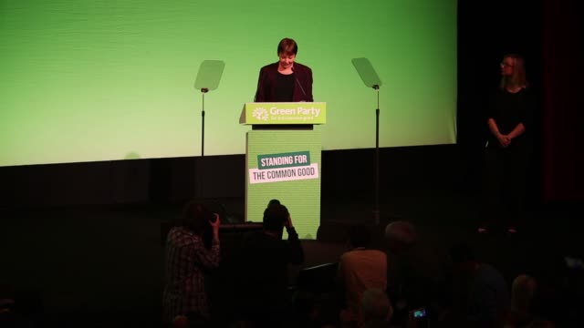 Caroline Lucas member of parliament for the Green Party addresses delegates during the partys spring conference in Liverpool UK on Friday March 6 2015