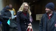 Caroline Wozniacki greeting fans while departing the TODAY show in Rockefeller Plaza signs at Celebrity Sightings in New York on February 10 2015 in...