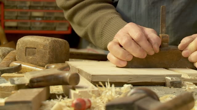 HD SLOW-MOTION: Carpenter At Work
