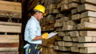Carpentiere fare un inventario di legno