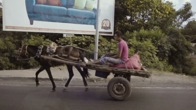 Carriage with horse at Latin America country from a car