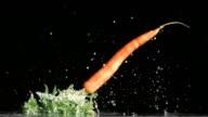 Carrot falling in super slow motion