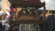 MS TS Carrying of holy shrine in easter parade AUDIO / Kerkyra, Corfu, Greece