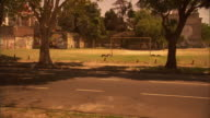 MS, cars driving past street side soccer field,, Buenos Aires, Argentina