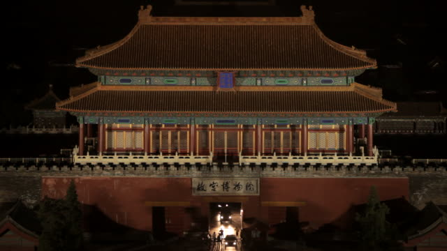 WS Cars driving through Forbidden City's gate at night / Beijing, China