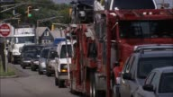 Cars move slowly along Route 9 / Route 1 in Elizabeth NJ Rushhour Traffic on August 22 2012 in Elizabeth New Jersey