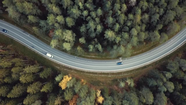 Cars on winding road