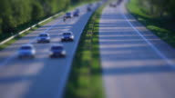 T/L Cars Rushing On Highway Tilt Shift