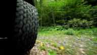 Car's wheels in  the forest