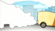 Cartoon car - air pollution