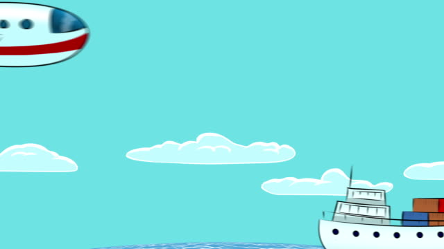 Fumetto di: Linea, nave, aereo e auto