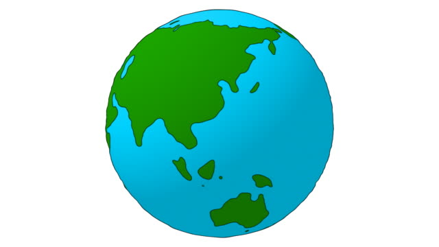 Cartoon Earth Globe spinning - loopable, isolated