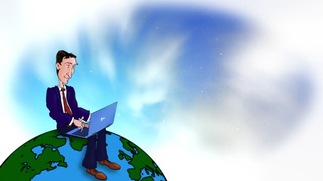 Cartoon Executive typing with laptop on the world