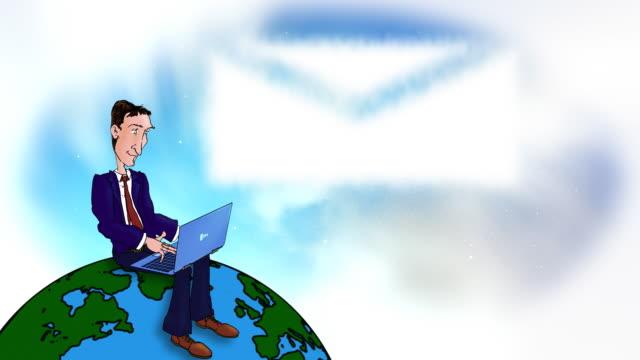 Cartoon executive using laptop on the world