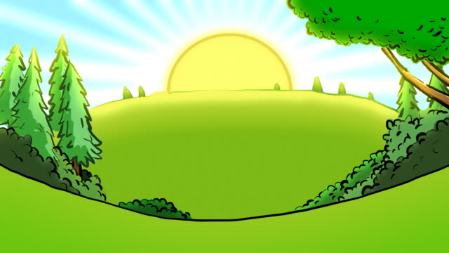 Cartoon landscape with blazing sun loop