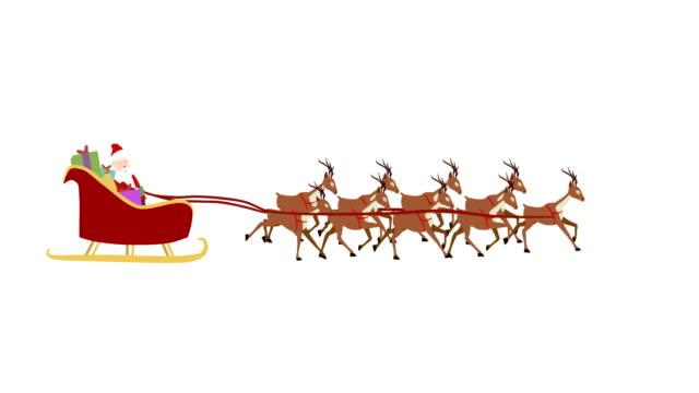 Kerstman met rendier cartoon | Loopbare + Alpha