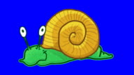 Cartoon Snail on bluescreen loop