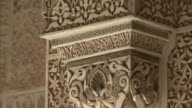 CU, TU, Carved column in Alhambra palace, Granada, Andalusia, Spain