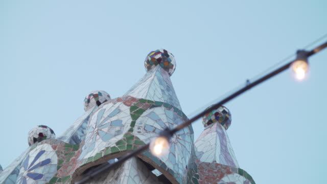 Casa Batllo by Gaudi rooftop with bulbs