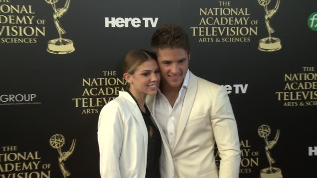 Casey Moss and Kate Mansi at the 2014 Daytime Emmy Awards at The Beverly Hilton Hotel on June 22 2014 in Beverly Hills California