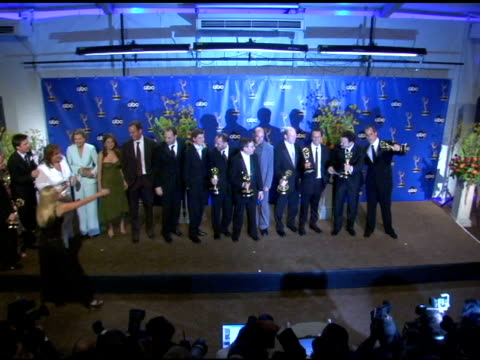 Cast and Crew of 'Arrested Development' winner of Outstanding Comedy Series at the 2004 Primetime Emmy Awards press room at the Shrine Auditorium in...