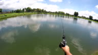 POV Casting bread bait to fishing Catfish in Thailand.