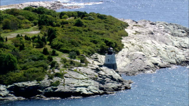 Castle Hill Lighthouse  - Aerial View - Rhode Island, Newport County, United States