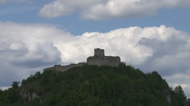 Castle in Front of Cloudy Sky Time Lapse