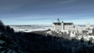 Castle located on the mountain. Winter landscape