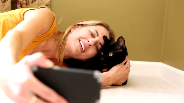 Cat Crazy Lady Taking Selfies with Kitty