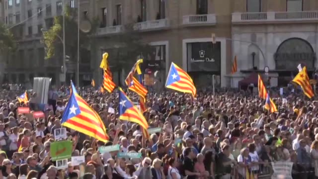 Catalans protest for independence in Barcelona and demonstrate against the detention of pro independence political leaders by Madrid as Spanish Prime...