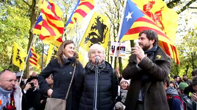 Catalonia's former agriculture minister Meritxell Serret former education minister Clara Ponsati former health minister Antoni Comin and...