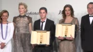 BROLL Cate Blanchett Adele Exarchopoulos Logan Lerman at Chopard Trophy Party at Martinez Hotel on May 15 2014 in Cannes France