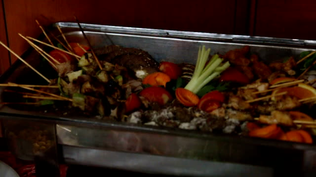 Catering food with meat and vegetables