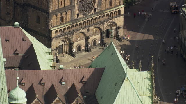AERIAL MS Cathedral and Town Hall Bremen, Germany
