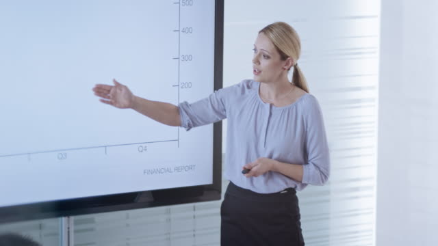 Caucasian woman explaining details of the financial report graphs shown on large screen in conference room