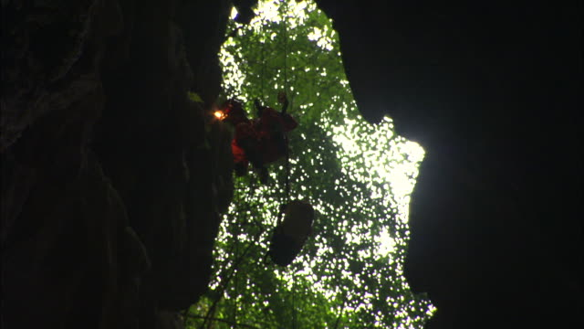 A caver abseils into a cavern. Available in HD.