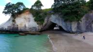 cavern, Cathedral Cove, cliffs, beach, rocks, sea, Coromandel,