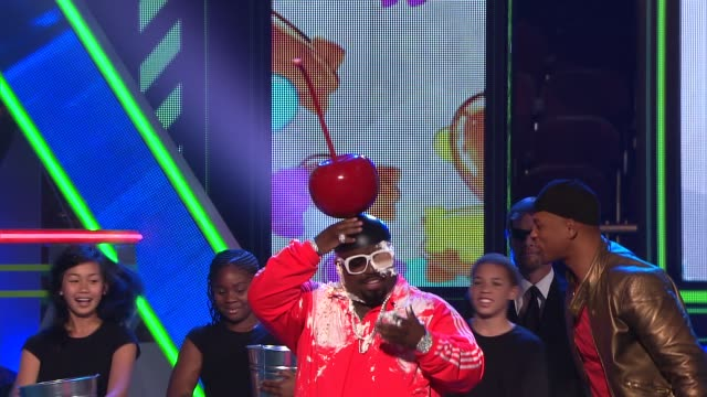CeeLo Green gets ice cream sundae'd by Will Smith at Nickelodeon's 25th Annual Kids' Choice Awards on 3/31/12 in Los Angeles CA