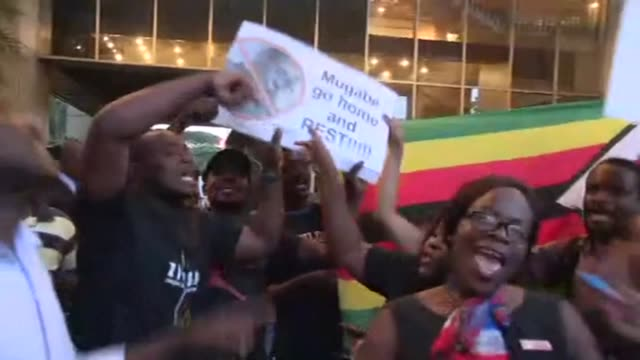 Celebration on streets of Harare in Zimbabwe as Mugabe steps down as president