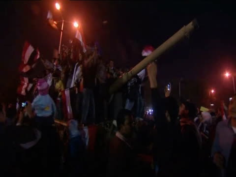 Celebrations in Tahrir Square following the announcement that President Hosni Mubarak is to step down from his position Cairo