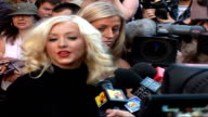 Celebrity red carpet arrivals / interviews **BEWARE Christina Aguilera speaking to press SOT Talks about new record really like to grow and challenge...