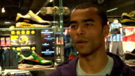 Celebrity sports stars at reopening of Niketown Ashley Cole interview SOT On latest Chelsea result On reaction he gets from fans On turning 30 to be...