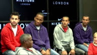 Celebrity sports stars at reopening of Niketown Footballers Cesc Fabregas Didier Drogba Theo Walcott and Ashley Cole onto stage to applause / Cesc...